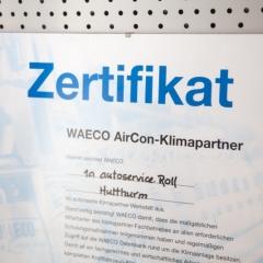 1a autoservice roll - Zertifikat WAECO AirCon-Klimapartner